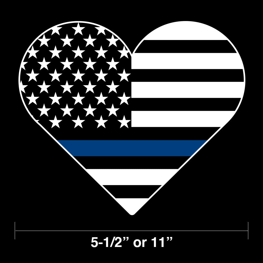 Heart Shaped Blue Line Flag Decal