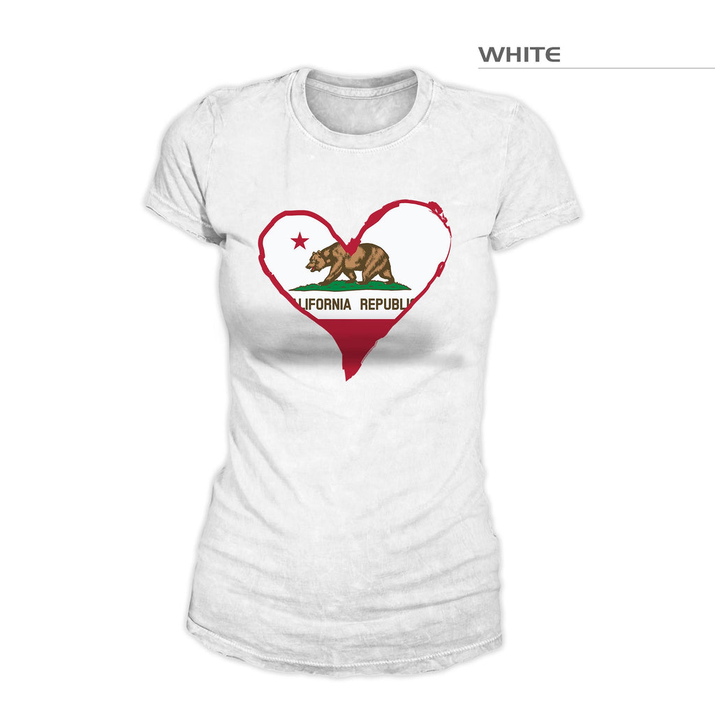 California Flag Heart Shirt – White