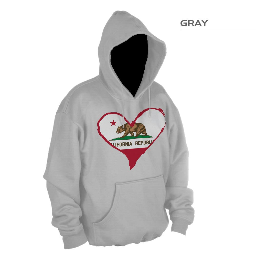 California Flag Heart Pullover Hoodie