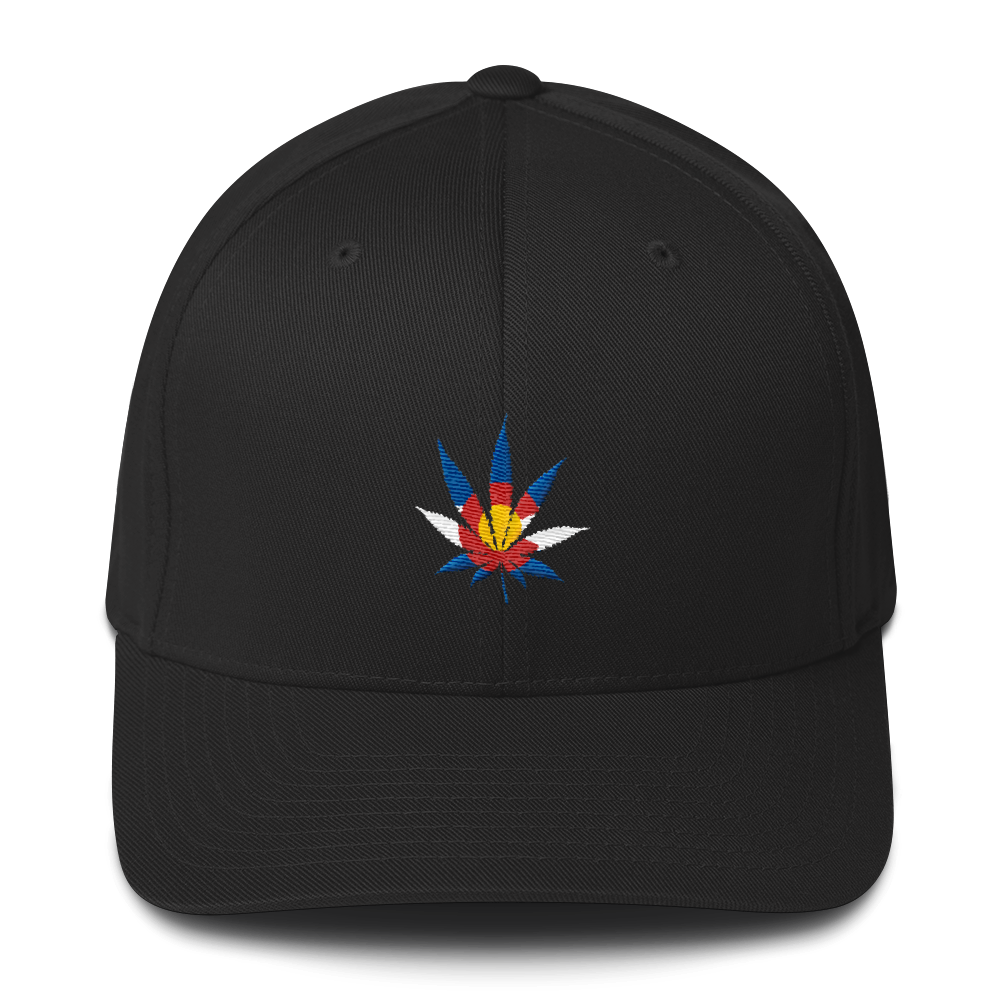 Colorado Flag Marijuana Leaf Hat Black