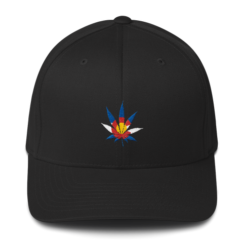 Colorado Flag Marijuana Leaf Flexfit Hat