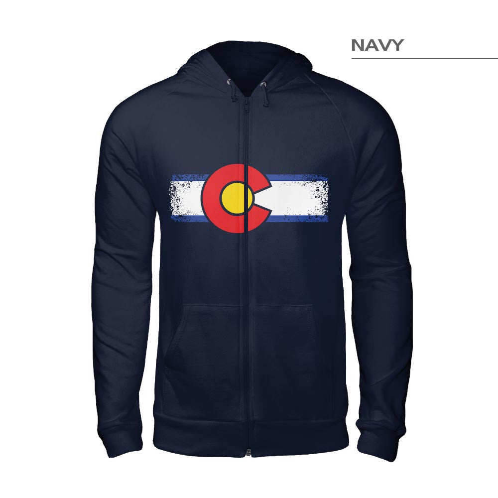 Grunge Colorado Flag Sweatshirt – Navy Blue