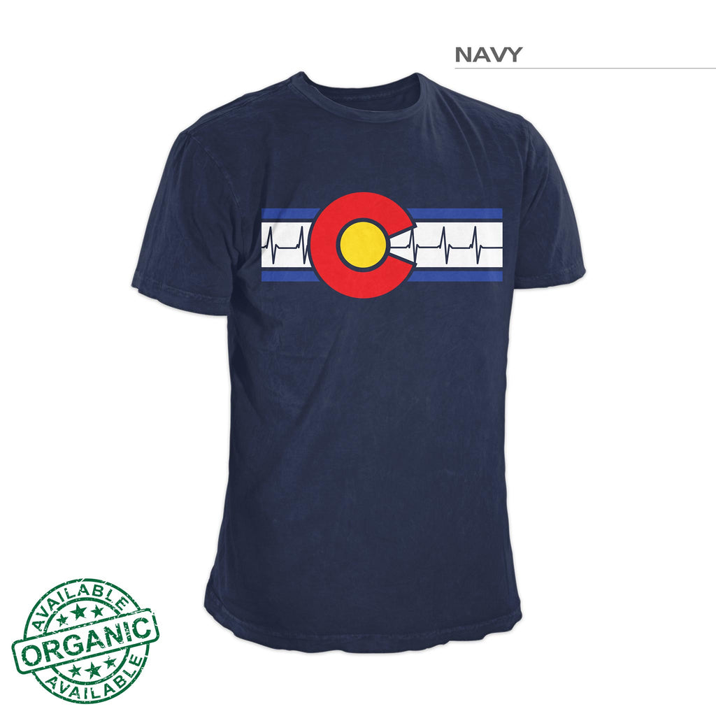 Colorado Flag Shirt – Heartbeat – Navy Blue