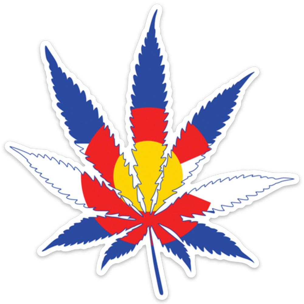 "5"" Colorado Flag Marijuana Leaf Decal"