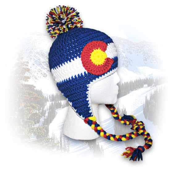 Crocheted Colorado Flag Sherpa Hat