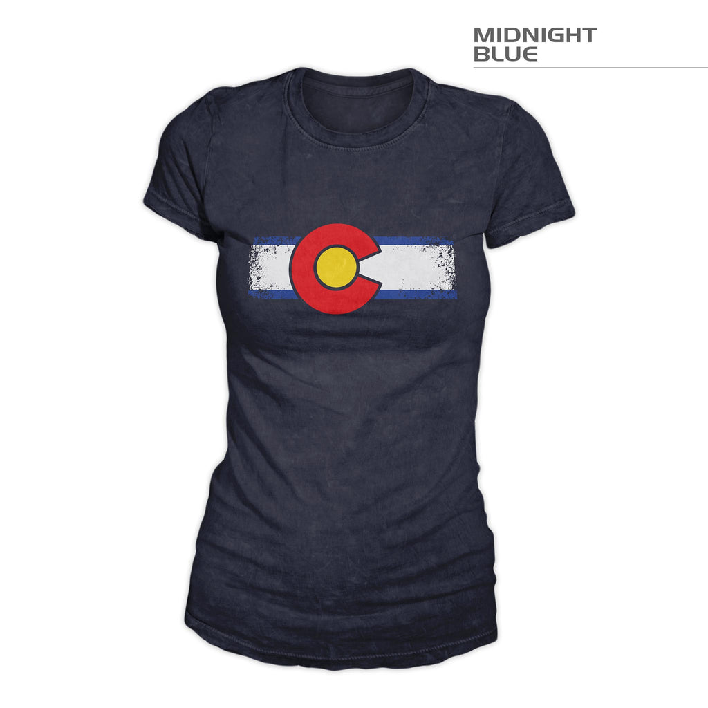 Colorado Flag Women's Shirt – Grunge – Midnight Blue