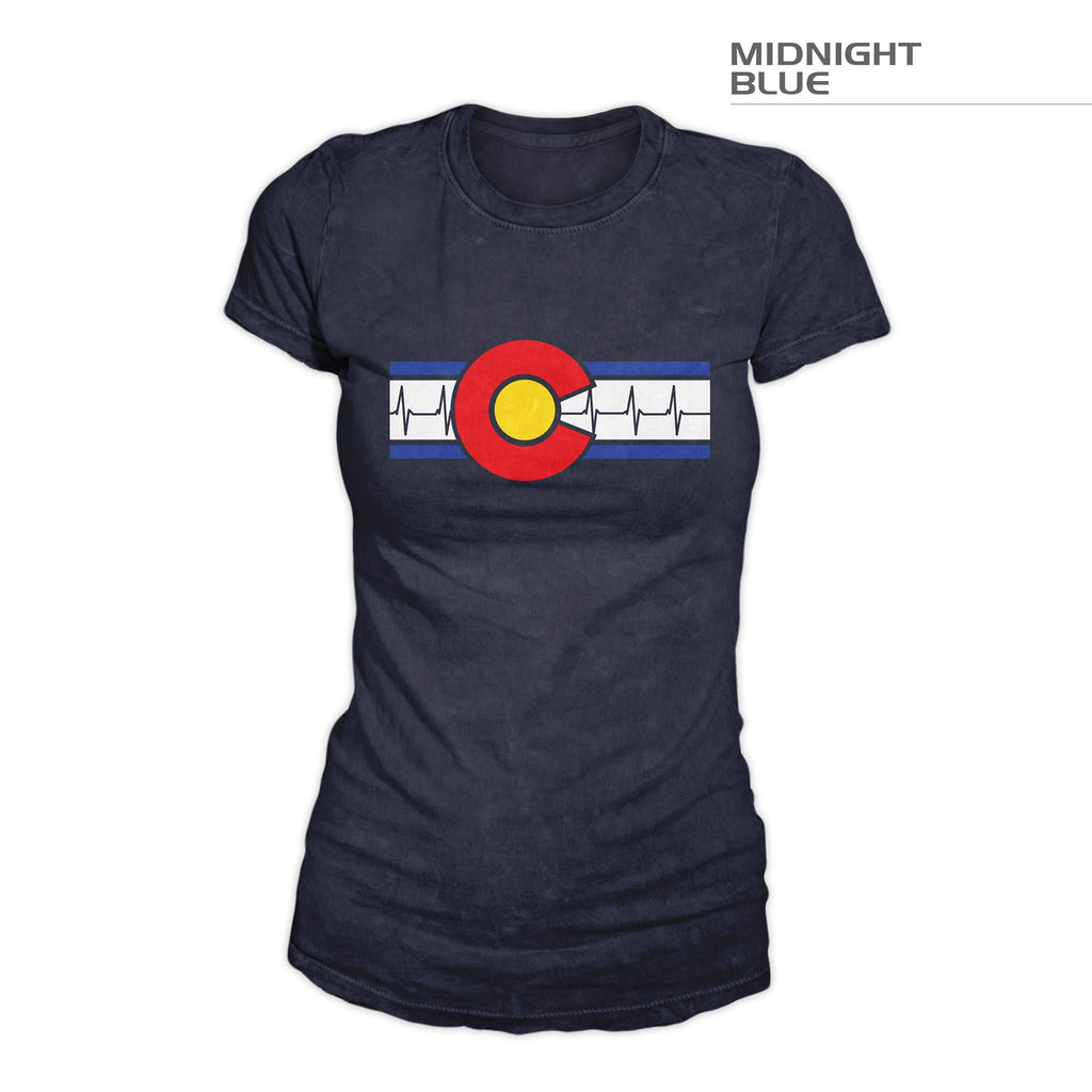 Women's Colorado Flag Shirt – Heartbeat – Midnight Blue