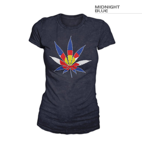 Women's Colorado Flag Marijuana Leaf Shirt