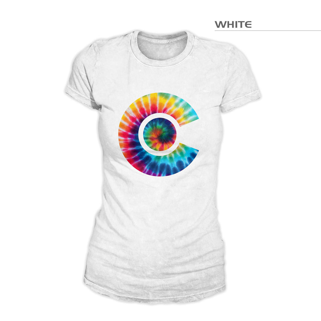 Women's Colorado Flag Tie Dye Shirt – White