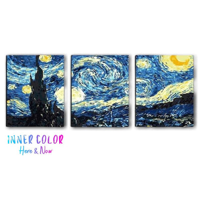 """Starry Night"" TRIPTYCH PAINT BY NUMBERS - INNER COLOR™ Inner Color"