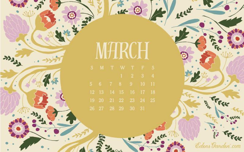 March 2017 Free Wallpaper Calendar