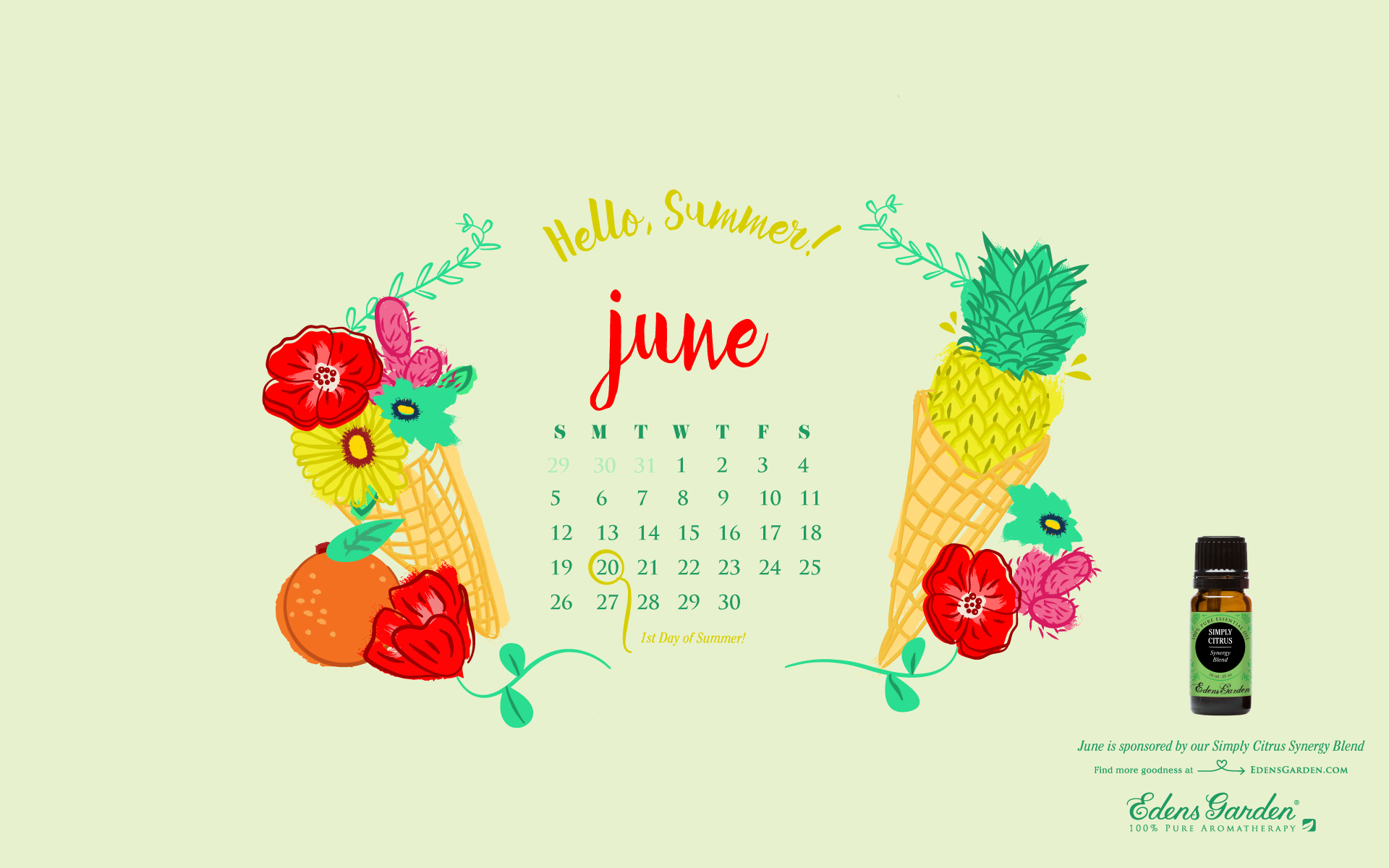 June 2016 free desktop wallpaper calendar