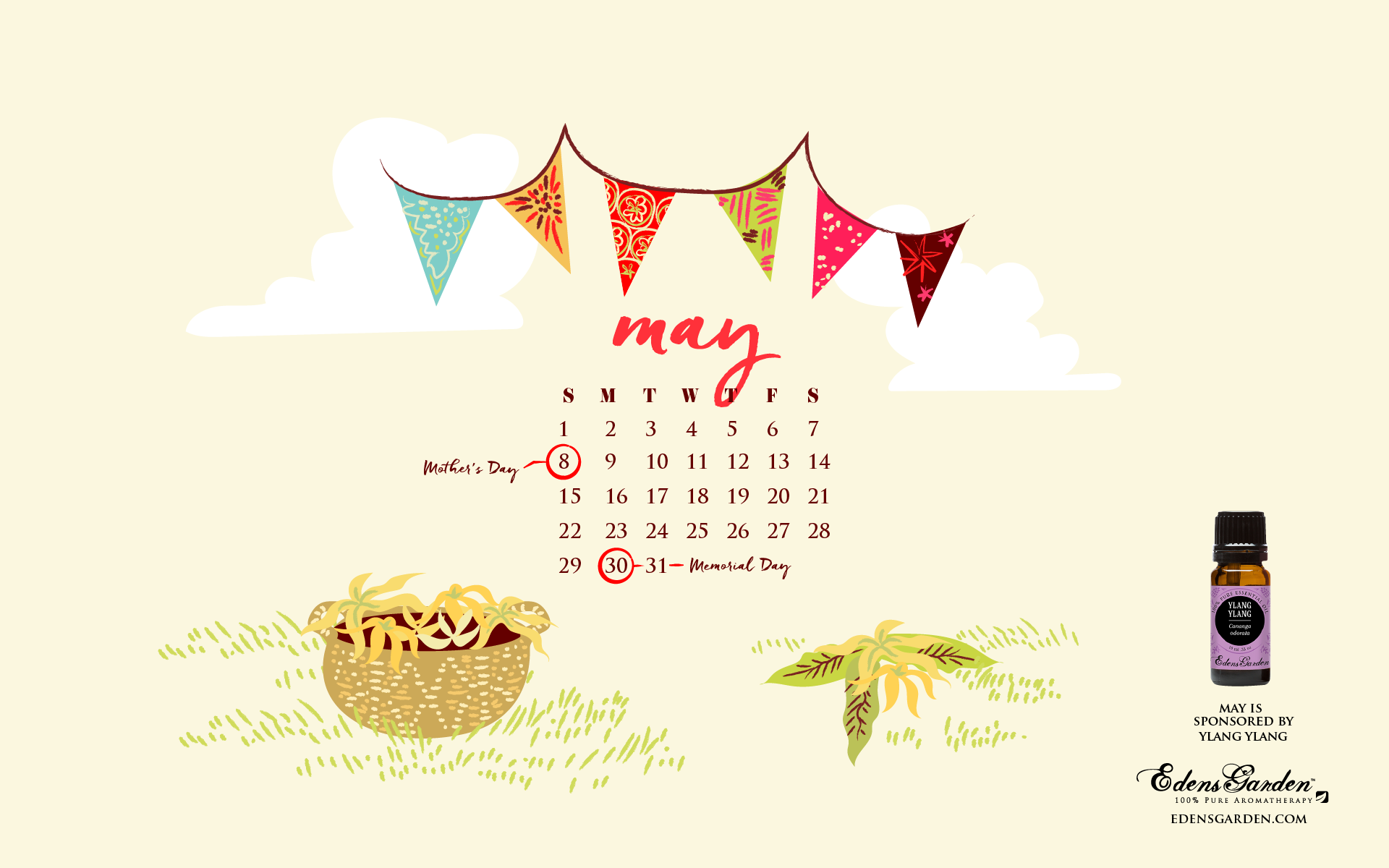 May 2016 Desktop Wallpaper Calendar - Ylang Ylang Essential Oil