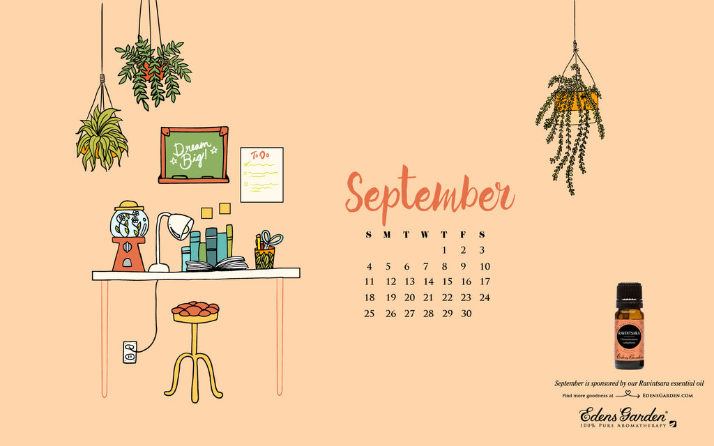 Free desktop wallpaper calendar for September 2016 - Edens Garden