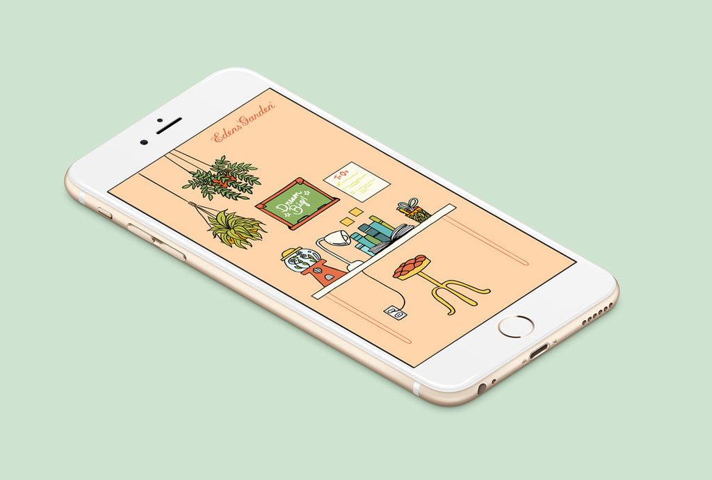 Free iPhone wallpaper - cute - illustration - Edens Garden