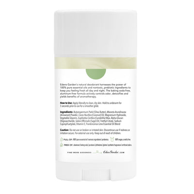 Label of Frankincense Lime Natural Essential Oil Deodorant with forest and citrus by Edens Garden