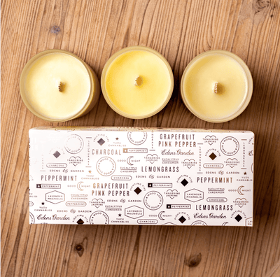 Create your own customized set of three essential oil candles. Beautiful packaging makes these coconut wax candles perfect for gifts