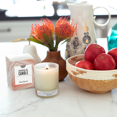 kitchen decor including Cinnamon Sweet Orange holiday essential oil candle with coconut wax by Edens Garden