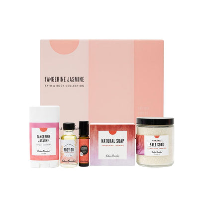 Tangerine Jasmine essential oil product set with deodorant, body oil, roll-on, bar soap and salt soak by Edens Garden