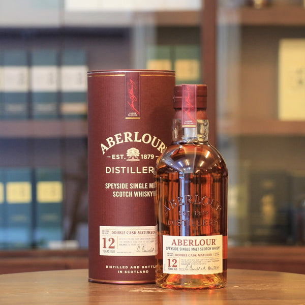 This Speyside single malt from Aberlour distillery is double mutured in American oak and Spanish Sherry for 12 years. Soft and rounded with apples on the nose, the taste is sweet, toffee and spice like cinnamon and ginger. Lingering finish with sweet and warm spice.