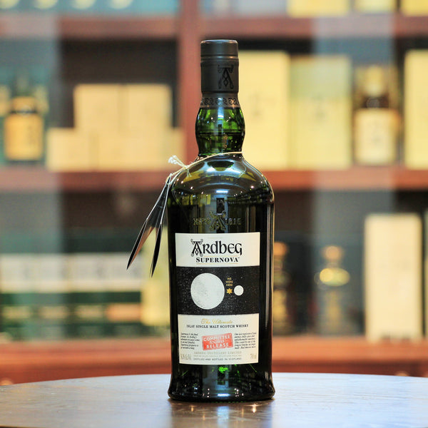 Ardbeg has been studying the effect of maturing spirit in space. To celebrate the conclusion of Ardbeg's experiment in space, this release of the heavily peated Supernova (100 ppm vs the usual 50 ppm), this is one of the most heavily-peated whiskies from Ardbeg. No box is available.