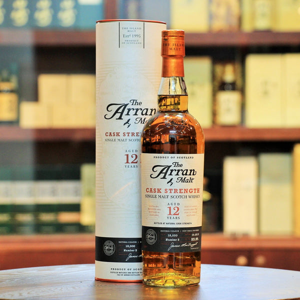 Arran Single Malt 12 Years Cask Strength, Exotic tropical fruits, citrus and dark chocolate. Rather complex and enjoyable.