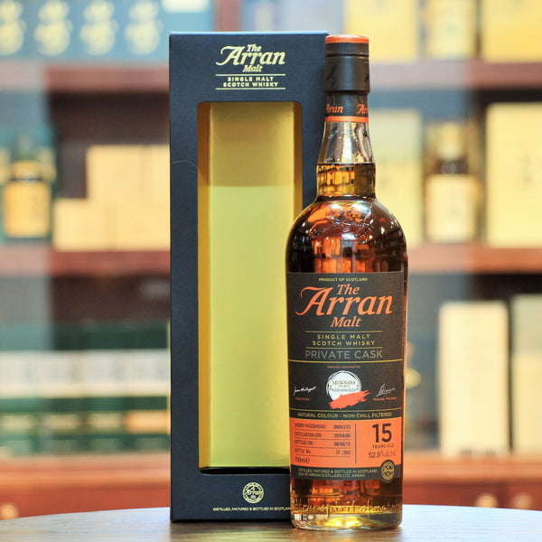 Arran 15 Years Single Malt Whisky, Sherry Hogshead Private Cask Bottling for Mizunara Hong Kong. Rated 87 points by WhiskyFun (SGP:641). Review Link here. Limited to 302 bottles.  Distilled 20.04.2000  Bottled 08.08.2015
