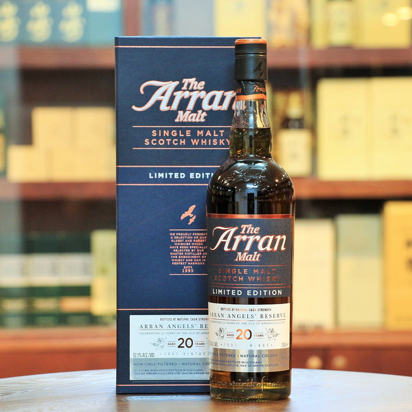 Arran Angels Reserve 20 Years Limited Edition Single Malt, Vintage 1997. Released to celebrate the 22nd anniversary of the Isle of Arran Distillery. Limited to only 1500 bottles. Ex-Oloroso Sherry Hogshead.