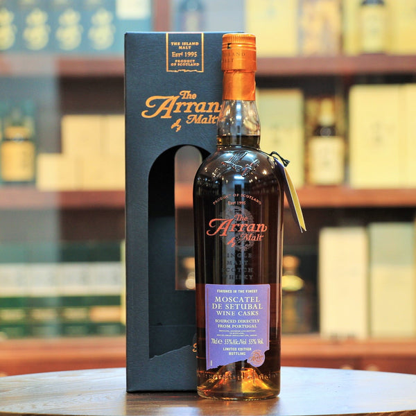 Arran Moscatel De Setubal Single Malt, Cask strength Arran, 8 years in traditional oak + 10 months in casks previously used to fortify Portugese dessert wine Moscatel de Setubal.