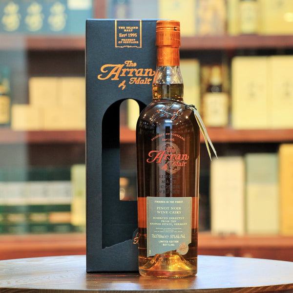 Arran Pinot Noir Wine Cask Scotch Whisky, Limited edition Arran finished in Pinot Noir casks from Knipser Estate. One of 6,960 bottles.