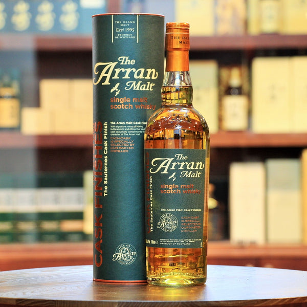 Arran Single Malt Sauternes Cask Finish, Matured in traditional oak cask (reportedly 8 years) and finished in Sauternes Wine Casks (under 2 years perhaps). Honey, butterscotch and citrus.