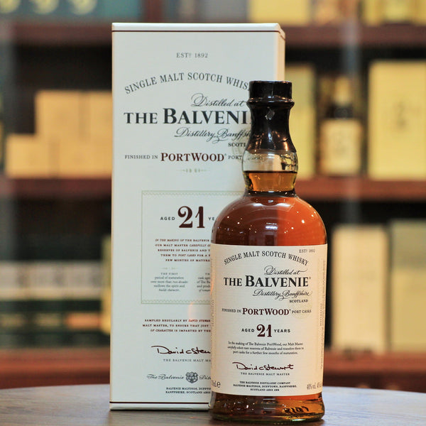 "Balvenie PortWood 21 Years Single Malt Additionally matured in 30 years old Port Pipes giving it some undeniable depth and fruity richness. Ripe raisins & fruity. Did someone say, a great ""after-dinner"" malt?"