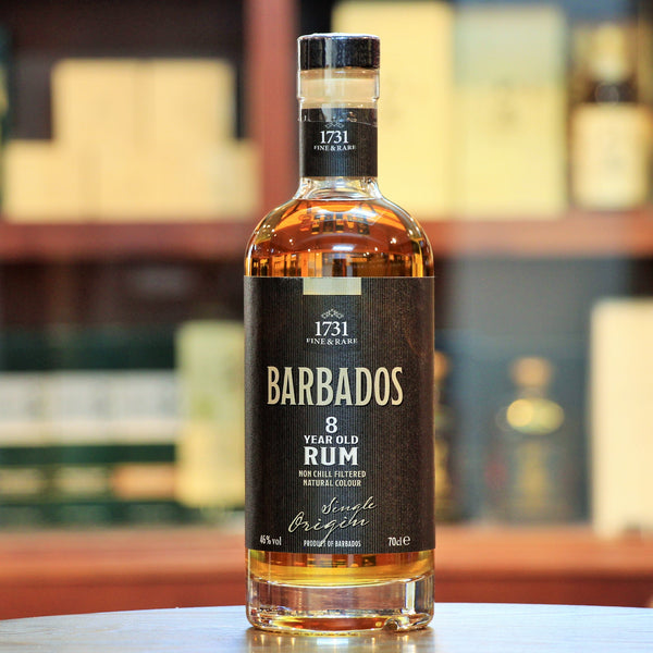 Barbados Rum 8 Year Old, Non Chill Filtered and Natural Color, this is an exceptional blend of some local rums from Barbados which have been aged for a minimum of 8 years in ex-Bourbon barrels. Vanilla, Spices and Caramel with Cinnamon and a hint of smoke.