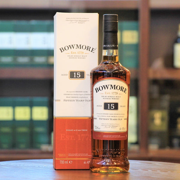 Islay Single Malt Whisky, Bowmore Distillery, Peated Whisky, 15 Year old, Sherry Cask