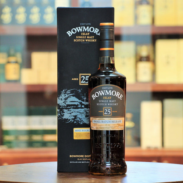 Bowmore 25 Years Old Small Batch Release, An excellent aged and well balanced bottling, with notes of mandarin peel combined with dry fruit richness and subtle peat smoke.