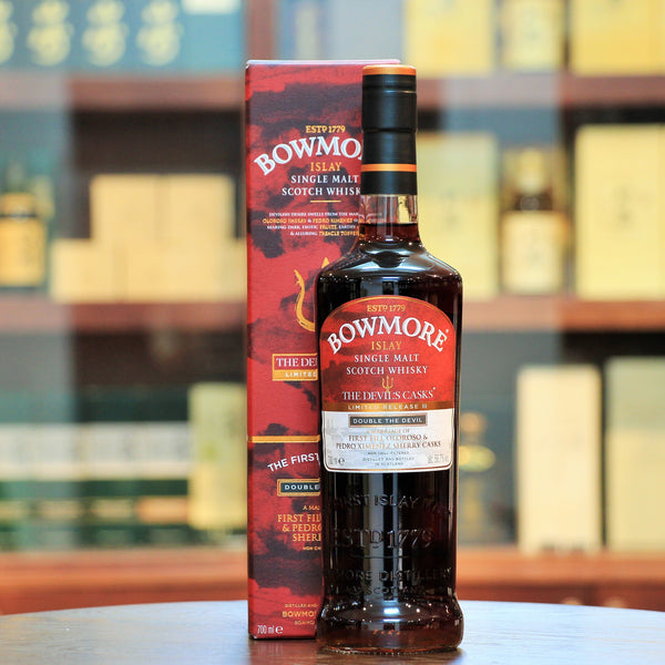 Bowmore Devils Cask III Limited Third Release Double The Devil, the final bottling of the Devils Cask release in 2015 combines the flavours of release 1 & 2 by using 1st Fill Oloroso & Pedro Ximénez Sherry Casks. This bottling is only available as a set along with Batch 1 & Batch 2.