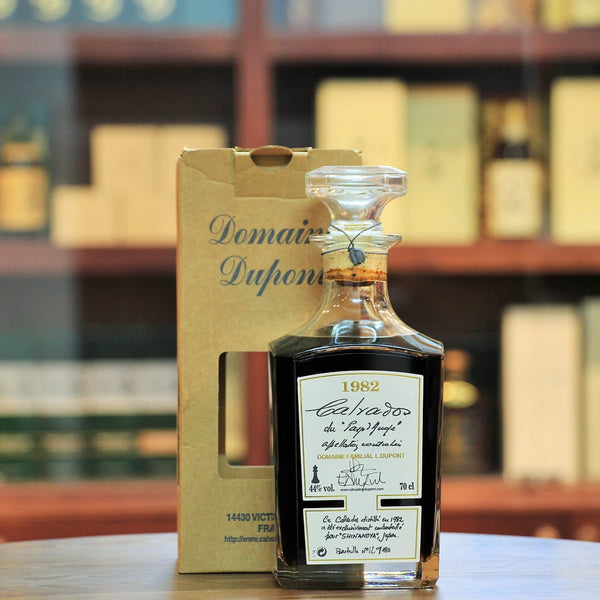 Domaine Dupont Calvados 1982 30 Years Old, Produced by a family that manages 27 hectares with 6,000 apple trees and the whole process from harvesting to bottling. This was a selection in partnership with Shinanoya of Japan and 180 bottles were released.