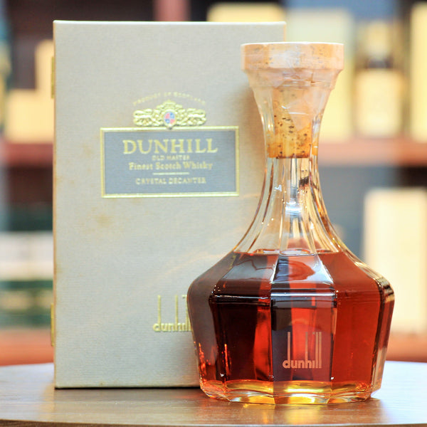 Dunhill Old Master Crystal Decanter, Since it first appeared, this old bottling is reported to include a blend of 8 years (the youngest grain) to over 20 years (the oldest malt).