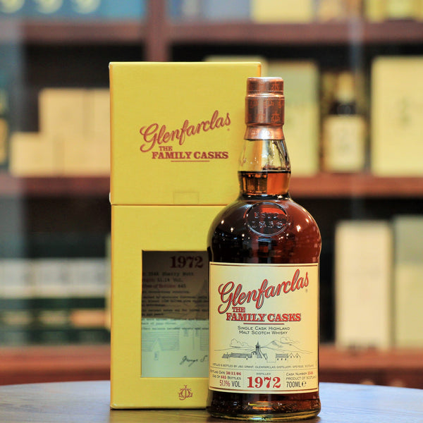Glenfarclas 1972 Family Cask Single Malt 34 Years Old, Matured in a Sherry Butt for 34 Years and bottled at 51.1%, this bottling delivers the wonderful rich sherried flavours characteristic of Glenfarclas, at a higher ABV.