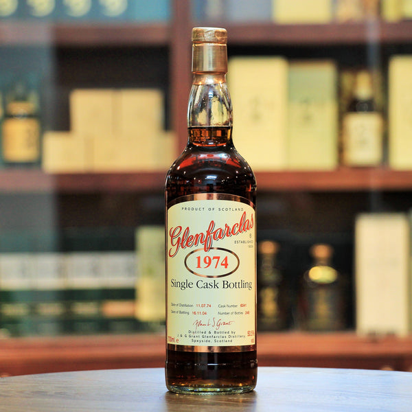Glenfarclas 1974 30 Years Single Cask, A rare & special bottling for Whisky Exchange. Matured in a refill sherry hogshead with 246 bottles released.