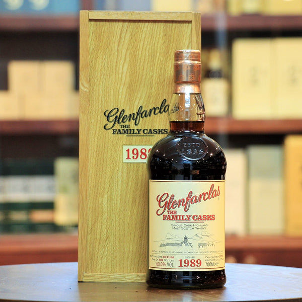 Glenfarclas Family Cask 1989 Single Malt, Distilled in 1989 and bottled in 2006, this family cask had an out turn of 600 bottles. Matured in a Sherry Butt, it has been bottled at an impressive 60% ABV. Rich Sherried Whisky.