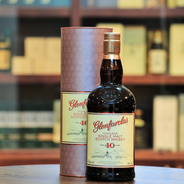 "Glenfarclas 40 Years Single Malt Whisky, Different than the ""Warehouse Version"", this is an older bottling at a higher ABV of 46% vs 43%. Still rich in fruits and wonderfully aged for 40 years in Sherry Casks. Malt Maniacs Awards 2010 Gold Medal and rated 91 points by Whiskyfun."