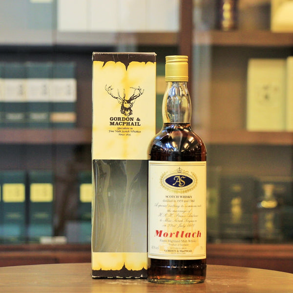 This Speyside single malt from Mortlach distillery was specailly bottled by Gordon & MacPhail to commemorate the Royal Marriage of H.R.H Prince Andrew and Sarah Ferguson on 23rd July 1986. A marriaged distillation year in 1959 and 1960 represented the birth year of Prince Andrew and Sarah Ferguson.  This is one of Royal Series(Prince Andrew and Sarah Ferguson) 6 special bottlings.