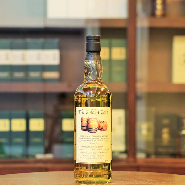 Closed in 1983, Port Ellen has since become a highly collectible whisky and one with a great fan following. This is the independent bottle from The Golden Cask, distilled in Oct. 1982 and bottled in Oct. 2007. This is single cask #CM105 and only 355 bottled released.