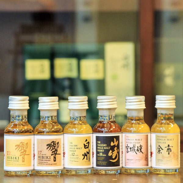 A set of 6 x 30 ml Japanese Whisky samples for an evening of variety and comparisons across distilleries and cask finishes. This set includes the following Whiskies (Hakushu Single Malt 12 Years, Yamazaki Single Malt 18 Years, Hibiki 12 Years, Hibiki 17 Years, Yoichi Single Malt NAS, Miyagikyo Single Malt NAS).