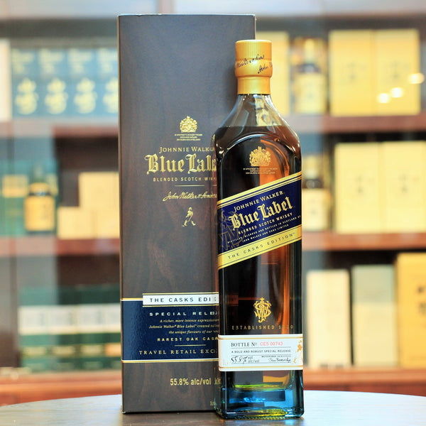 Johnnie Walker Blue Cask Edition, A limited edition cask strength version released in 2012. The usual JW Blue is bottled at 40% relative to this bottling at 55.8%