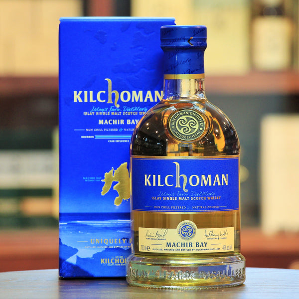 Kilchoman Machir Bay Islay Single Malt Scotch, Flagship of Kilchoman. Predominantly matured in ex-Bourbon Barrels (with about 10% Oloroso Sherry Butt). IWSC 2012 Gold. Best Islay Single Malt IWC 2016.