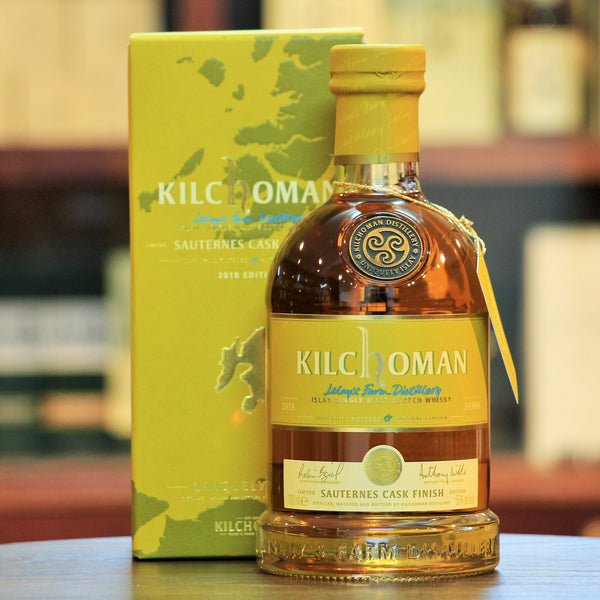 Kilchoman Sauternes Cask Finish 2018 Islay Whisky, Maritime peat smoke, citrus and tropical fruits with chocolate, liquorice and cinnamon on the palate. Limited to  10,000 bottles worldwide. Awarded best whisky by Cigar Lovers Magazine in 2
