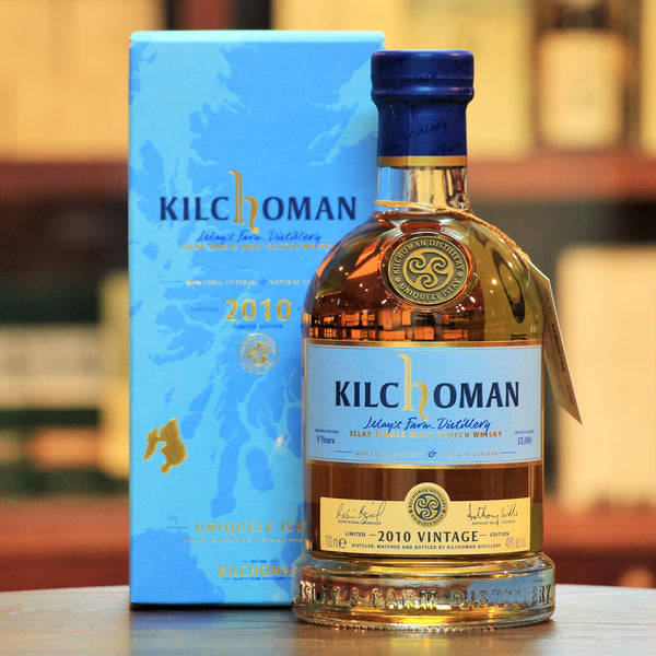 Kilchoman 2010 Vintage Single Malt Islay Whisky, The 2010 Vintage in a vatting of 42 fresh bourbon barrels and 3 oloroso sherry butts filled in 2010 and matured for over 9 years.. Bright notes of lemon zest, melted butter, sweet spices, and damp smouldering peat smoke. Finished with dried apricot, vanilla, and rounded peat smoke. Limited to 15,000 bottles worldwide.