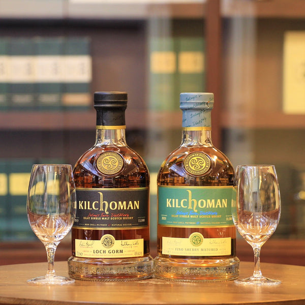 Kilchoman (Loch Gorm & Fino Sherry Cask) Islay Whisky and Glasses Set